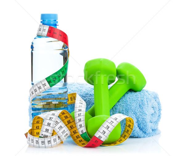 Dwa zielone centymetrem pić butelki fitness Zdjęcia stock © karandaev