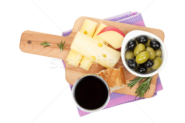 Stock photo: Red wine with cheese, bread, olives and spices