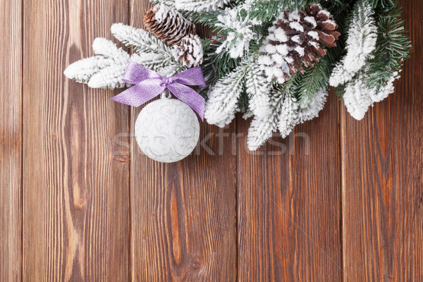 Christmas background with firtree and bauble Stock photo © karandaev