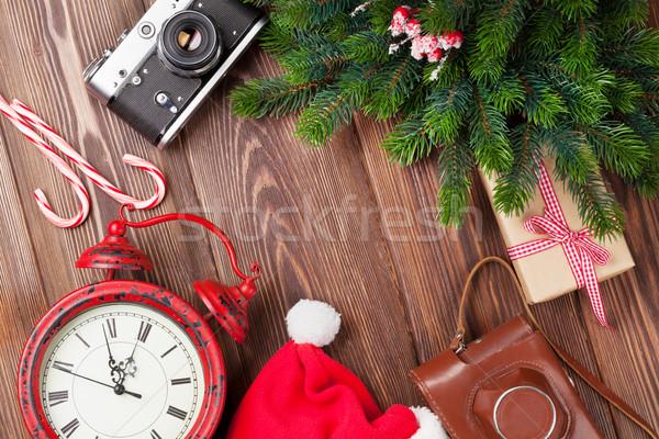 Karácsony kamera ébresztőóra faág fa asztal felső Stock fotó © karandaev