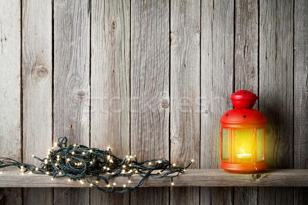 Noel mum fener noel ışıklar ahşap Stok fotoğraf © karandaev