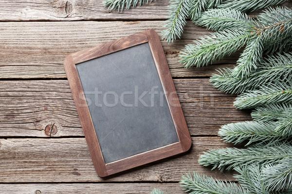 Noël tableau noir espace de copie texture bois Photo stock © karandaev
