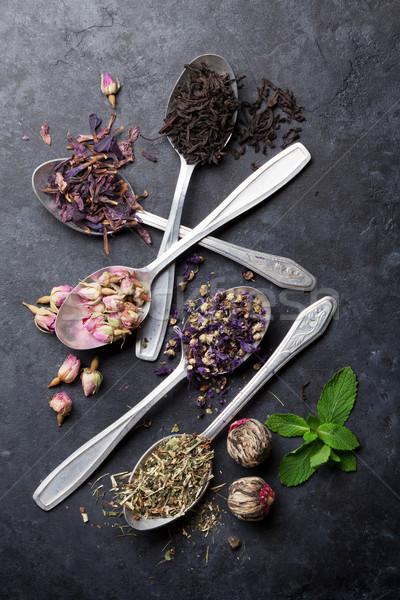 Assortiment sécher thé pierre table Photo stock © karandaev