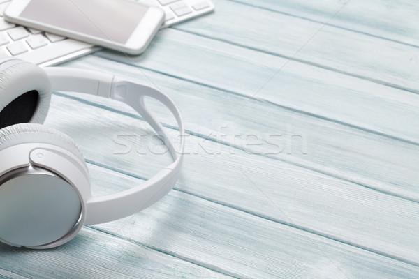 Headphones, phone and keyboard Stock photo © karandaev