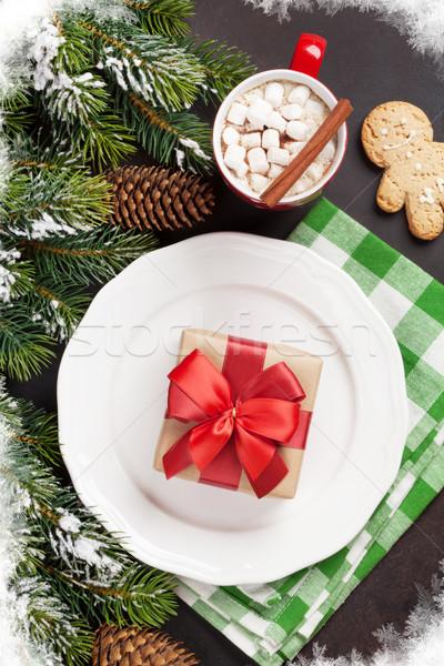 Foto stock: Navidad · cena · placa · regalo