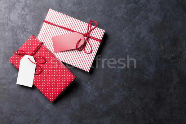 Natal caixas de presente pedra tabela topo ver Foto stock © karandaev
