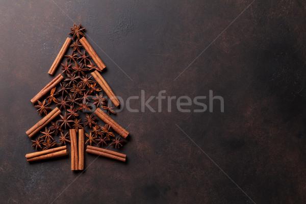 Anis canela temperos árvore de natal forma topo Foto stock © karandaev
