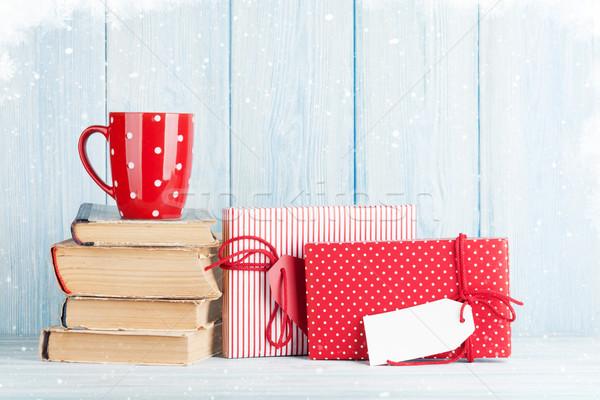 Chocolate quente copo natal presentes caixas de presente ver Foto stock © karandaev
