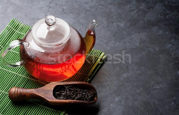 ティーポット 茶 スプーン 石 表 ストックフォト © karandaev