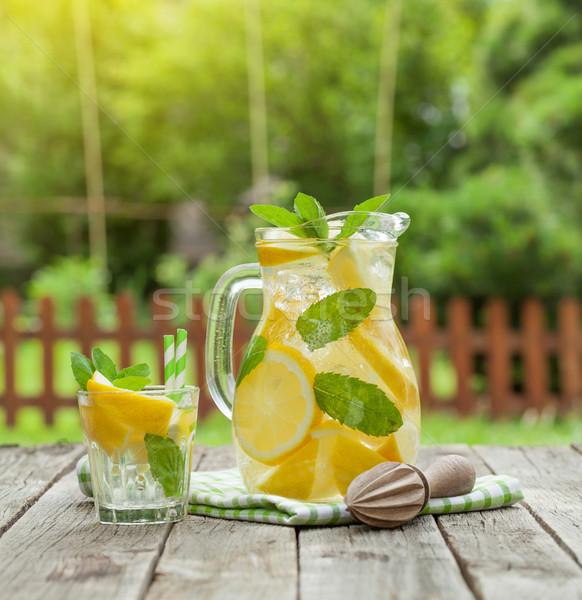 Limonade glas citroen mint ijs tuin Stockfoto © karandaev