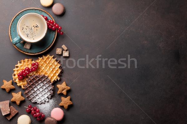 Koffie snoep bessen top exemplaar ruimte Stockfoto © karandaev