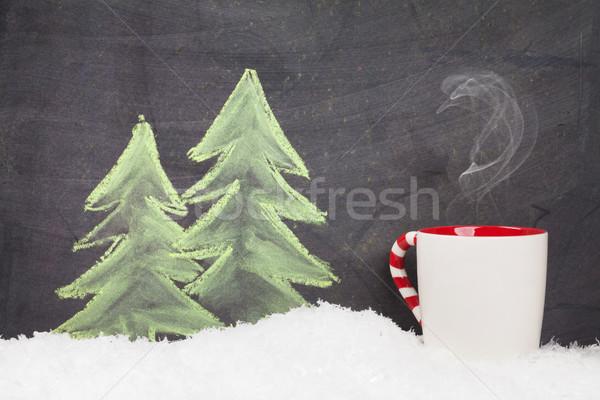 クリスマス ホットドリンク 手描き クリスマス 雪 ストックフォト © karandaev