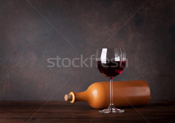 Foto d'archivio: Vino · rosso · bottiglia · vetro · lavagna · muro · copia · spazio