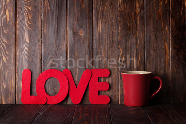 Stock photo: Valentines day greeting card with hot drink cup