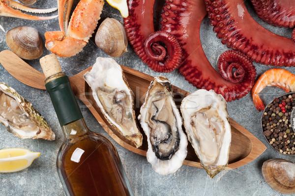 морепродуктов вино белое вино осьминога омаров Сток-фото © karandaev