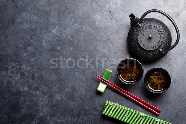 Zöld tea szusi evőpálcikák japán étel szett felső Stock fotó © karandaev