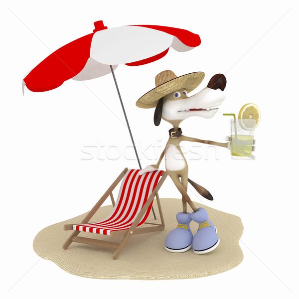 3D perro viaje caliente playa trabajo Foto stock © karelin721