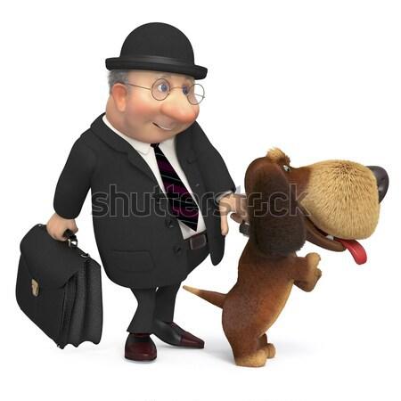 Illustrazione gentiluomo cane piedi strada sfondo Foto d'archivio © karelin721