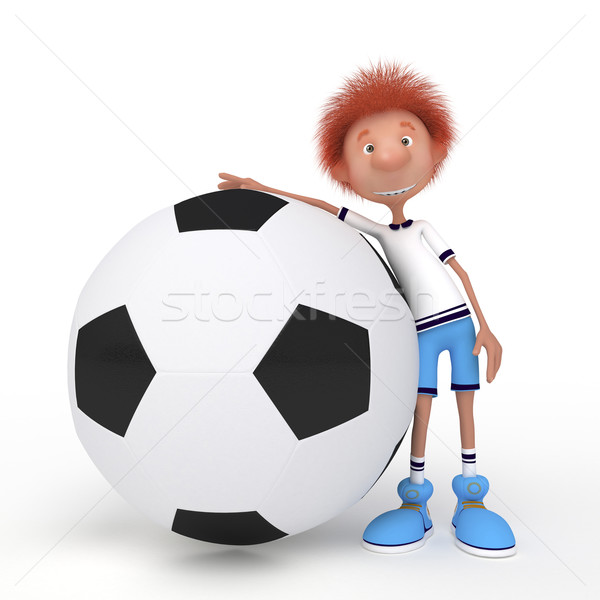 3d boy football player. Stock photo © karelin721