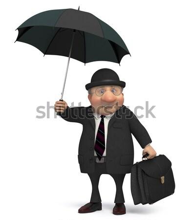 ビジネスマン 通り 傘 雨の 天気 背景 ストックフォト © karelin721