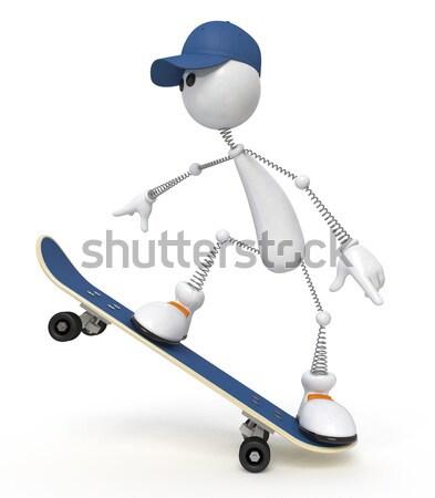 3D pequeño hombre bicicleta blanco persona Foto stock © karelin721