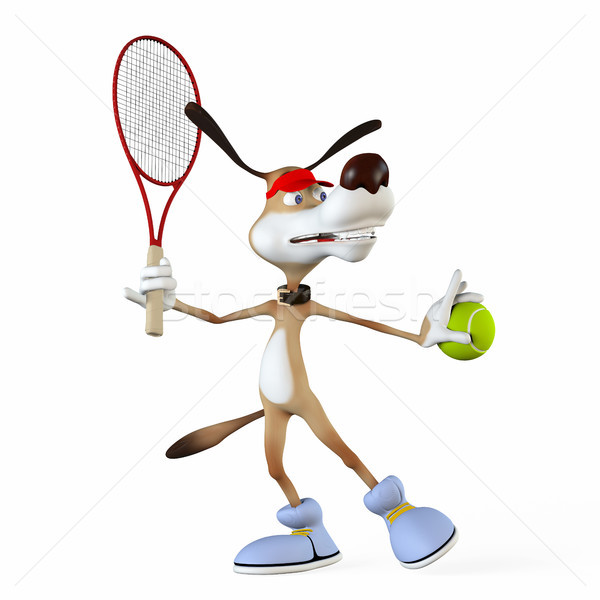 Illustration on a subject a dog the tennis player. Stock photo © karelin721