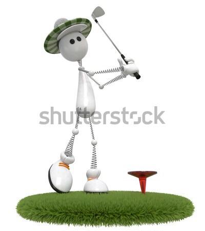3D pequeño hombre plantean blanco persona Foto stock © karelin721