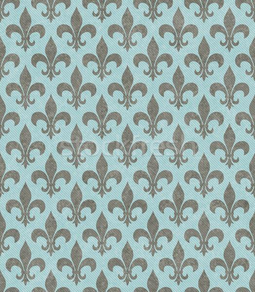 Teal and Gray Fleur De Lis Textured Fabric Background Stock photo © karenr