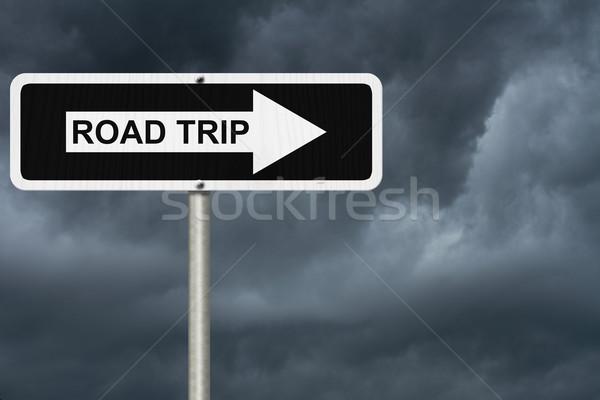 Strada viaggio inferno bianco nero segnale stradale Foto d'archivio © karenr