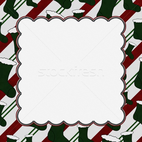 Рождества время чулок центр копия пространства бумаги Сток-фото © karenr