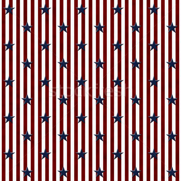 愛国的な 星 縞模様の ファブリック シームレス ストックフォト © karenr