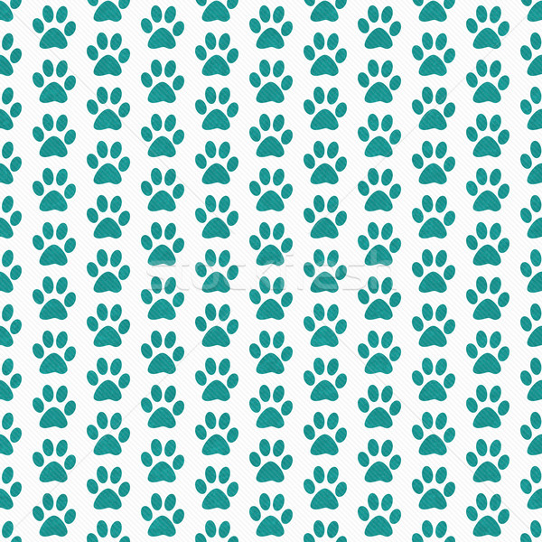 Teal and White Dog Paw Prints Tile Pattern Repeat Background Stock photo © karenr