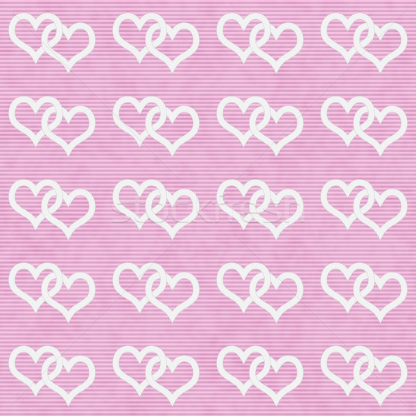 White Interwoven Hearts and Pink Thin Stripes Horizontal Texture Stock photo © karenr