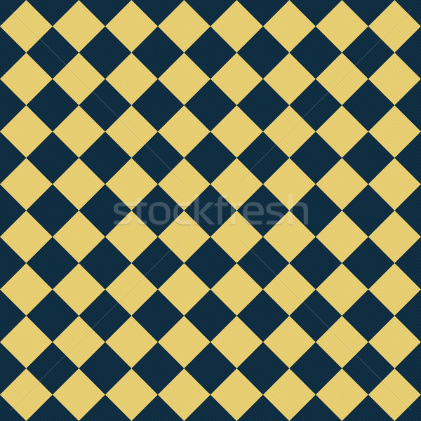 Navy Blue and Yellow Diagonal Checkers on Textured Fabric Backgr Stock photo © karenr
