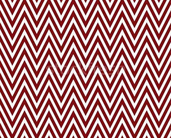 Thin Dark Red and White Horizontal Chevron Striped Textured Fabr Stock photo © karenr