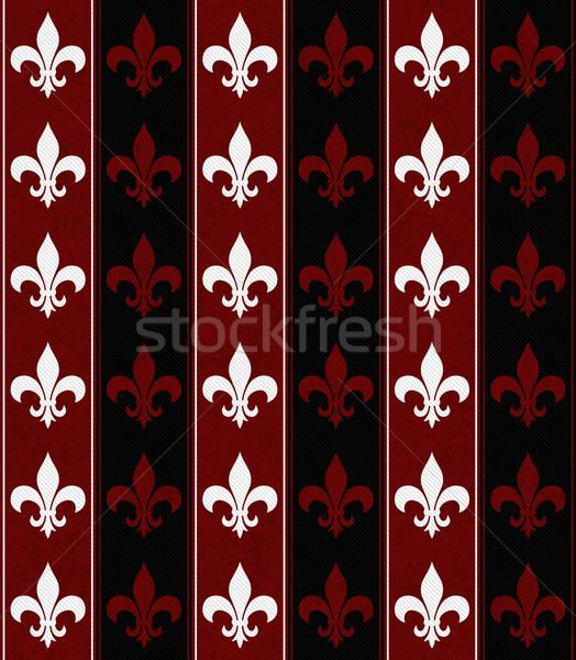 White, Black and Red Fleur De Lis Textured Fabric Background Stock photo © karenr