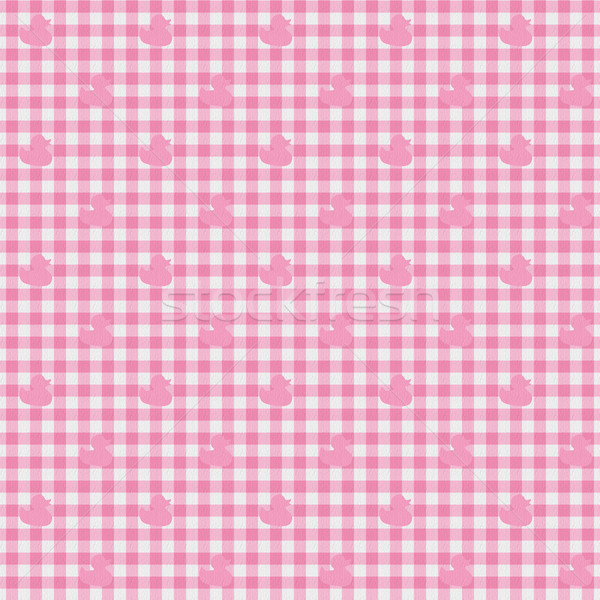 Pink Gingham Fabric with Ducks Background Stock photo © karenr