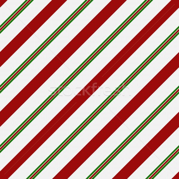 Rood groene witte gestreept weefsel naadloos Stockfoto © karenr