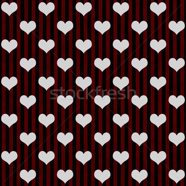 Negro rojo blanco corazones Foto stock © karenr
