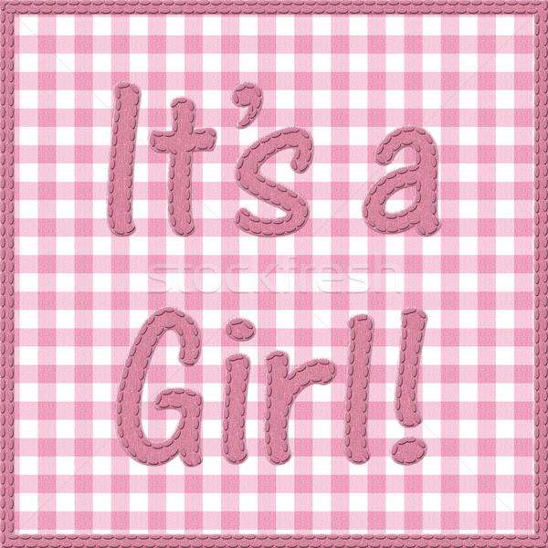 Menina bebê anúncio palavras rosa materialismo Foto stock © karenr
