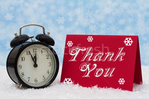 Karácsony idő hálás ébresztőóra köszönjük piros Stock fotó © karenr