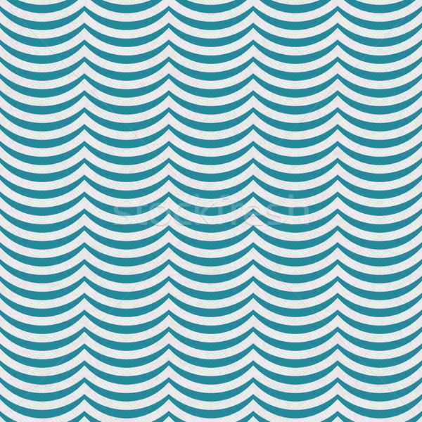 Teal and White Wavy Stripes Tile Pattern Repeat Background Stock photo © karenr