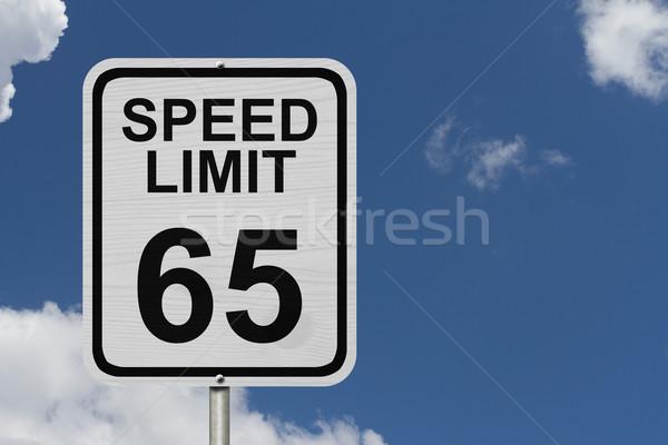 Limite de velocidade assinar branco americano placa sinalizadora palavras Foto stock © karenr