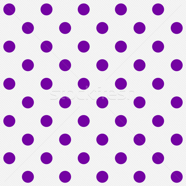 Stock photo: Bright Purple Polka Dots on White Textured Fabric Background