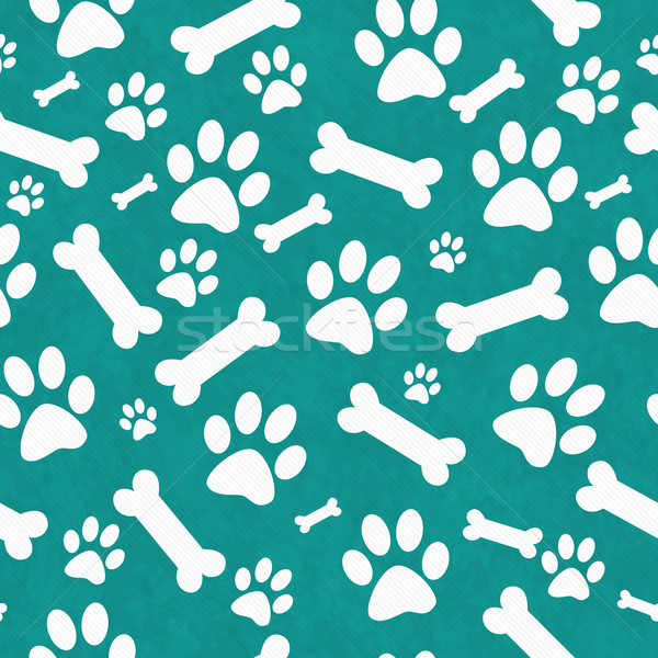 Teal and White Dog Paw Prints and Bones Tile Pattern Repeat Back Stock photo © karenr