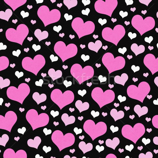 Pembe beyaz siyah kalpler karo model Stok fotoğraf © karenr