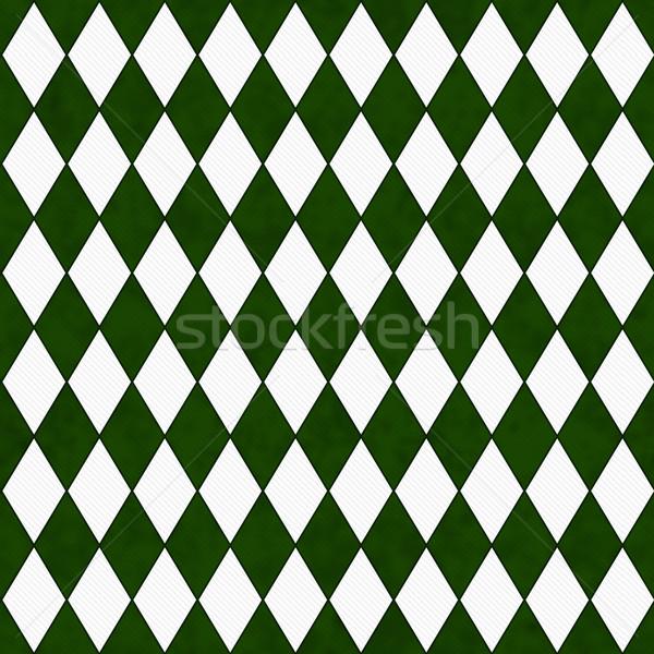 Green and White Diamond Shape Fabric Background Stock photo © karenr