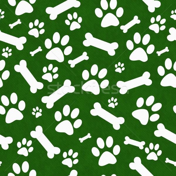 Green and White Dog Paw Prints and Bones Tile Pattern Repeat Bac Stock photo © karenr