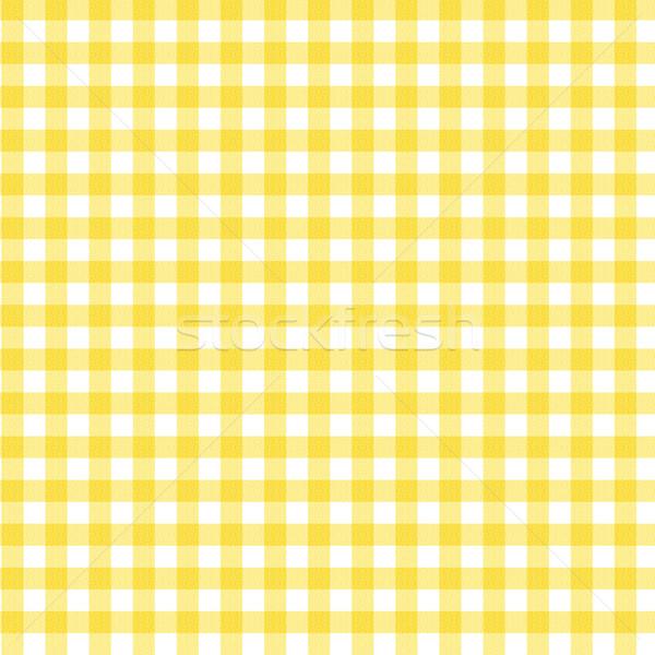 Yellow Gingham Fabric Background Stock photo © karenr