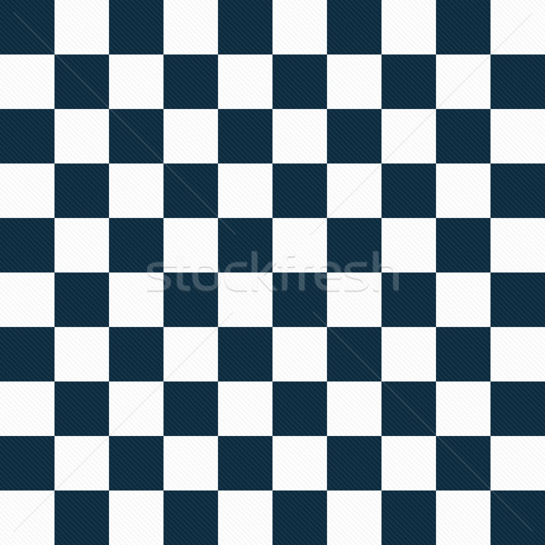 Stock photo: Navy Blue and White Checkers on Textured Fabric Background